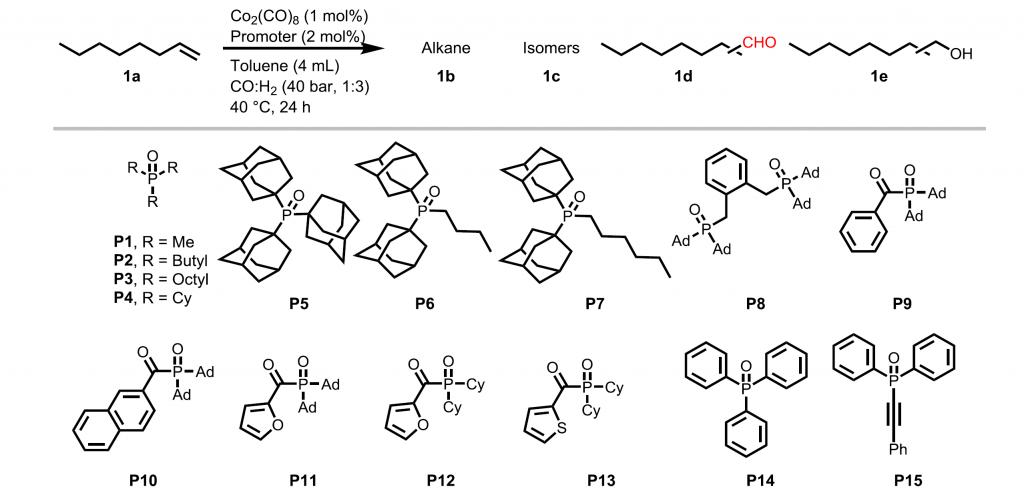 Ligands tested in the cobalt hydroformylation reaction