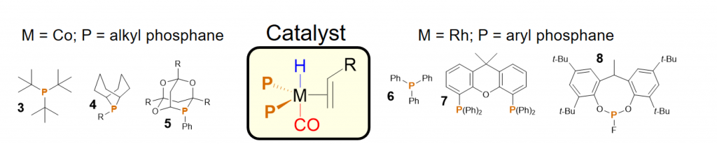 Rhodium and cobalt hydroformylation